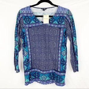 Lucky Brand / Blue Batik Flowers Print 3/4 Sleeve